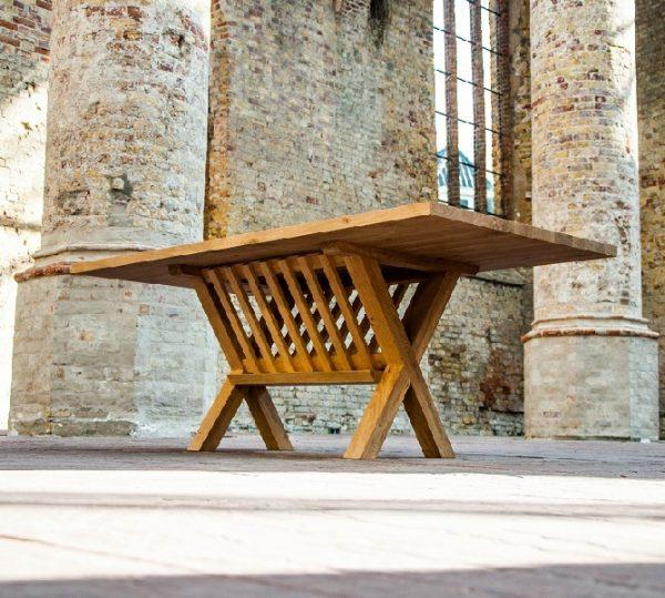 Haytop massief eiken noten houten design eetkamer tafel ovaal