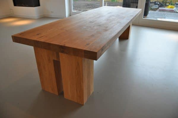 Massief eiken houten rechthoek design eetkamer keuken design tafel