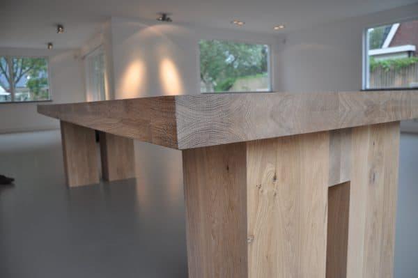 Massief eiken houten rechthoek ovale design eetkamer keuken design tafel