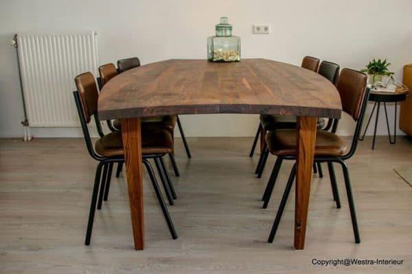 Massief noten houten eikenhouten eetkamer keuken tafel ovaal design