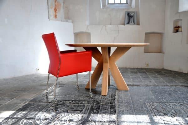 Massief eiken houten eikenhouten eetkamer keuken tafel rond design