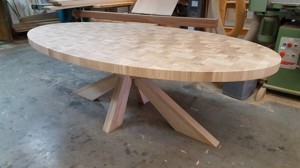 Massief eiken kops houten design tafel eetkamer keuken kruispoot ovaal