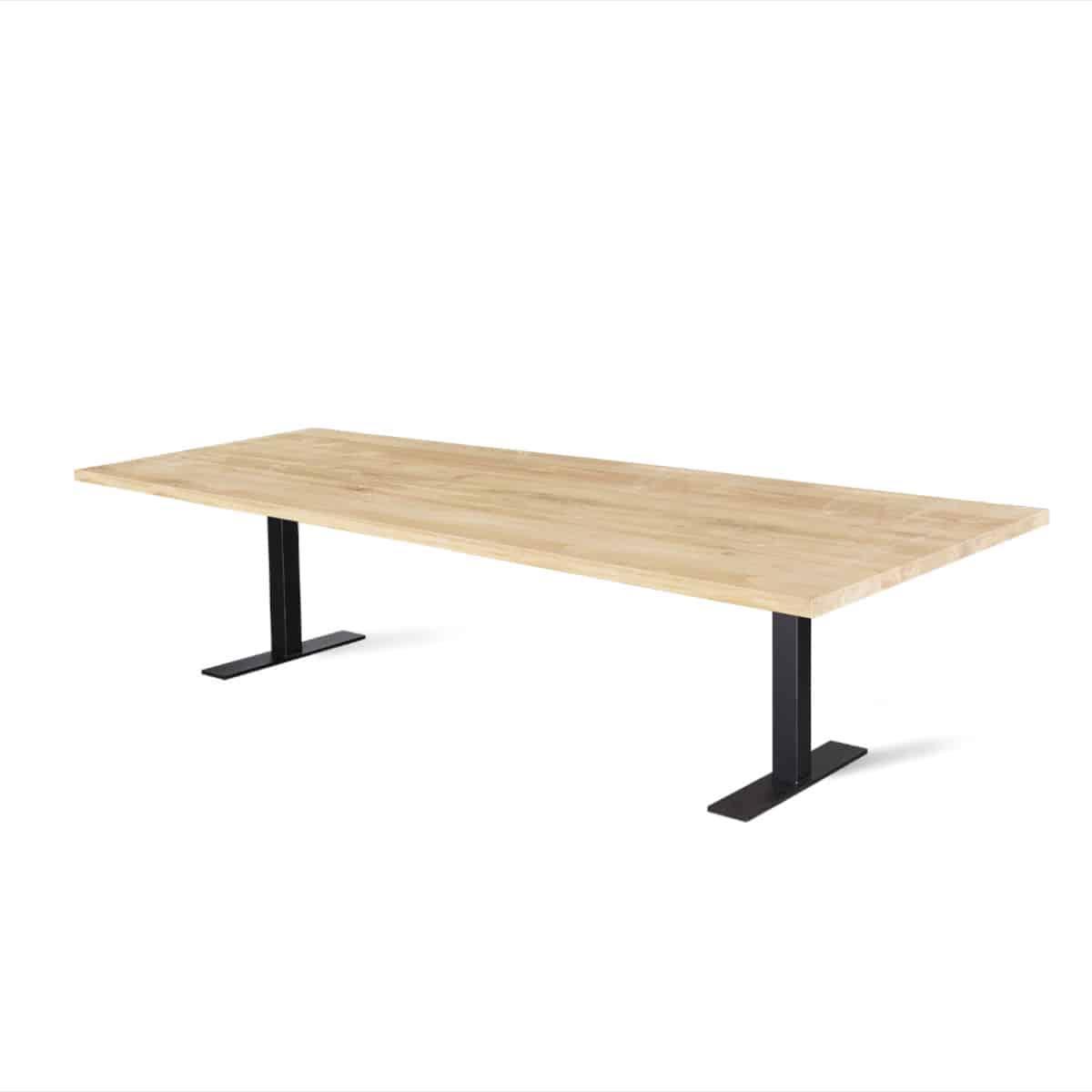 Massief eiken houten eikenhouten recht eettafel tafel eetkamer keuken meubelmaker friesland