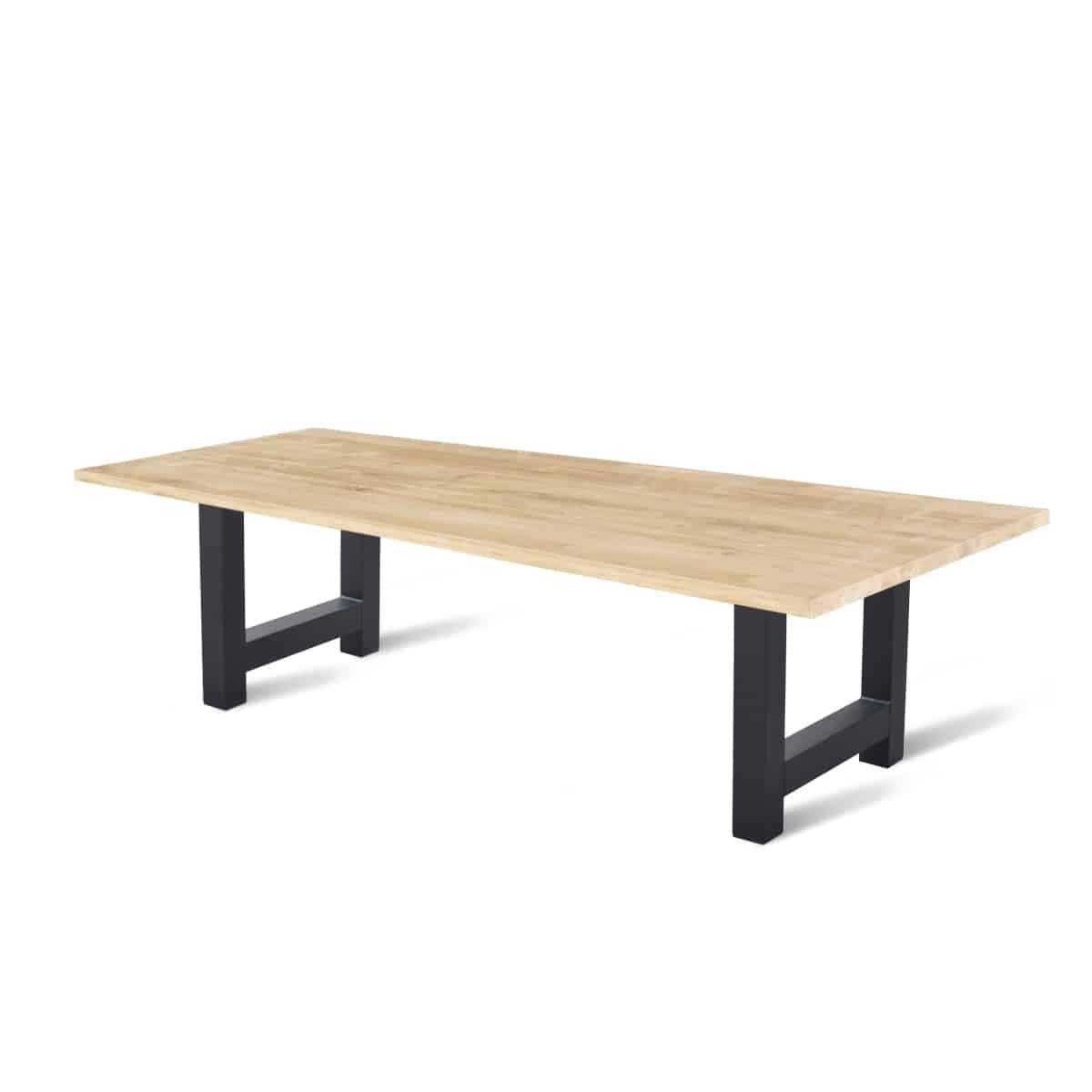 Massief eiken houten eetkamer tafel eettafel keuken meubelmaker friesland