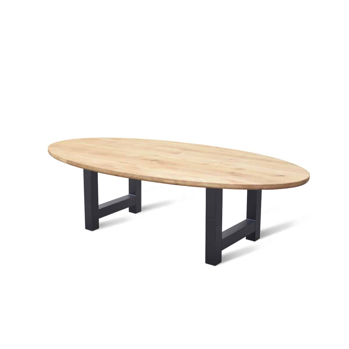 Massief eiken houten ovaal ovale eetkamer tafel eettafel keuken meubelmaker friesland