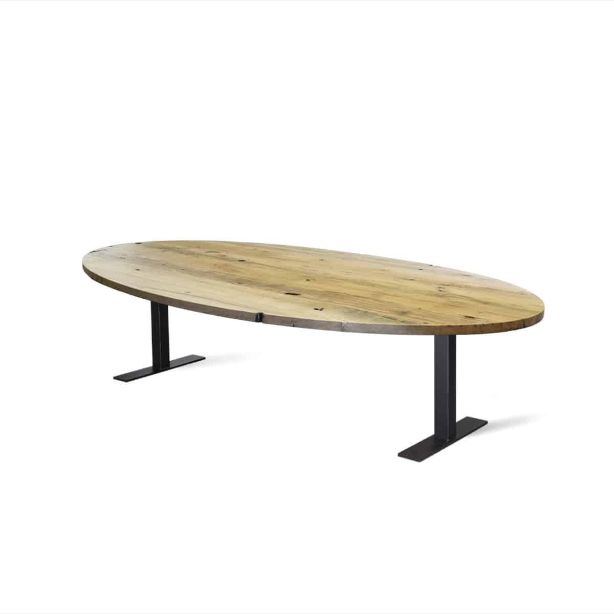 Massief eiken houten eikenhouten recht wagonhout rustiek geleefd eettafel tafel eetkamer keuken meubelmaker friesland