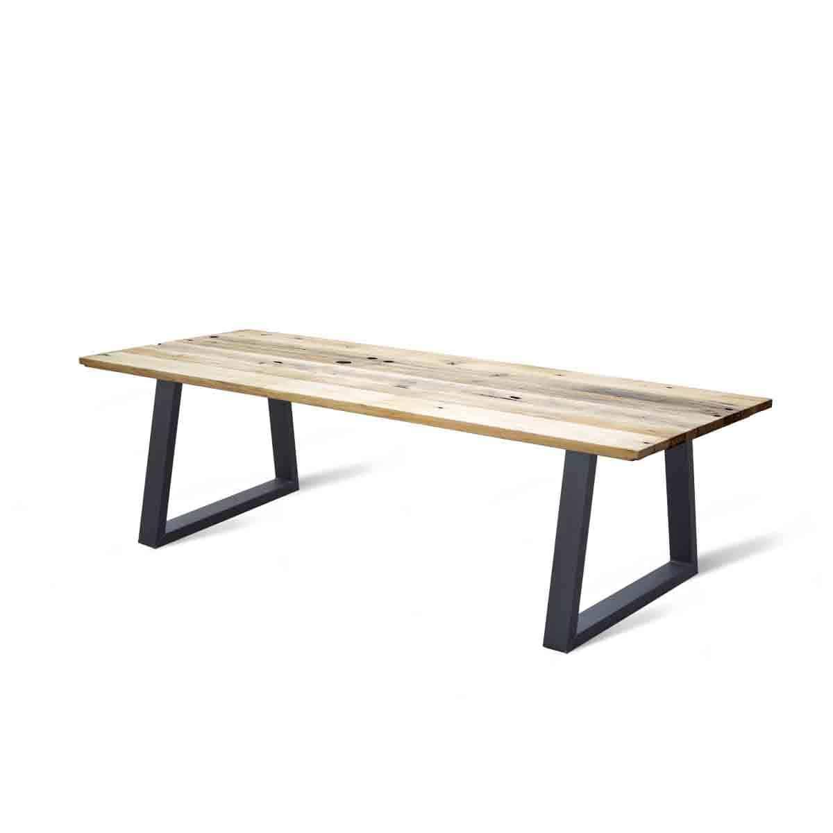 industriele massief eiken houten wagonhouten eetkamer keuken tafel