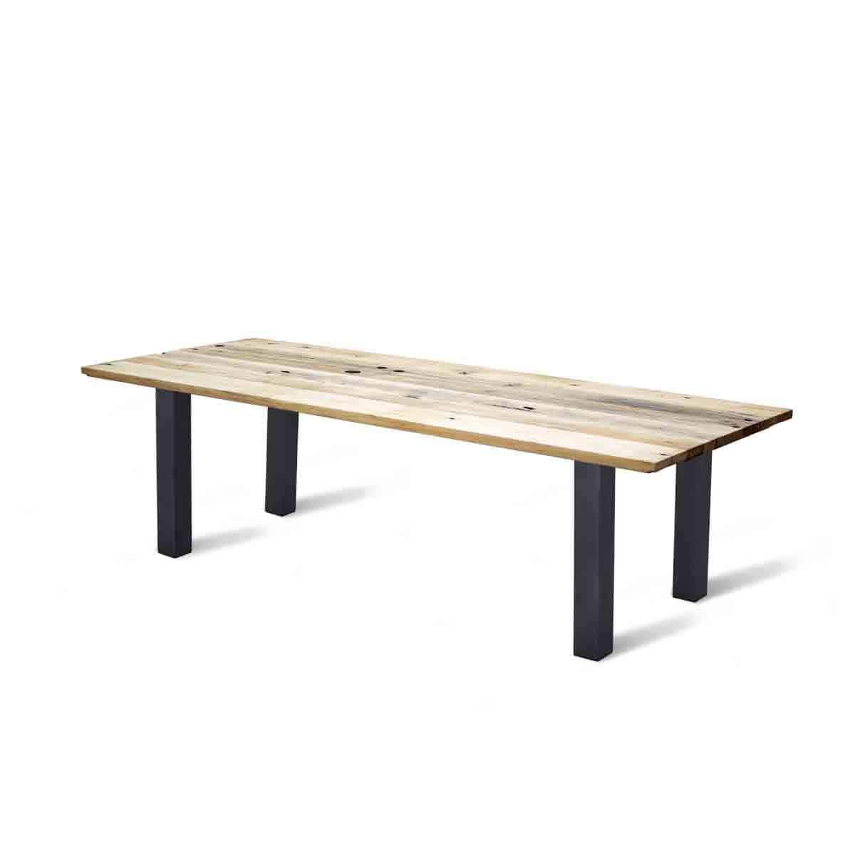recht massief eiken wagonhout rustiek geleefd tafel eetkamer keuken staal stalen poten onderstel