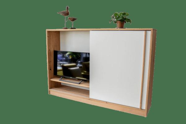 Tv kast meubel eiken hout massief zwevend wandkast