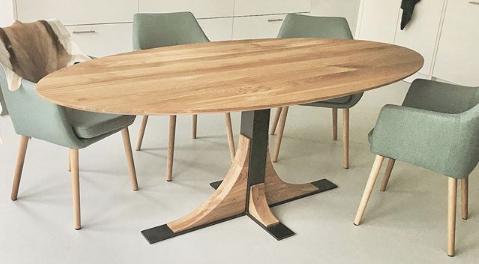 Ovale eiken houten industriële tafel